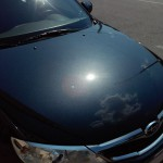 Subaru Impreza после глубокой абразивной полировки лакокрасочного покрытия автомобиля
